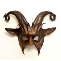 Goat Leather Mask curled horns Krampus by teonova