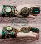 Emerald watch cuff by Pinkabsinthe
