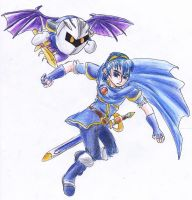 Marth and Meta Knight by kanineious