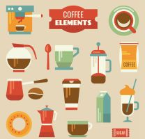 14 Creative Coffee Elements Vector by FreeIconsdownload