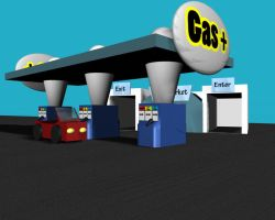 Gas Station in 3D by AnimeGal2010