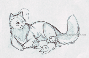 CanaCat and kittens by TripletNr2