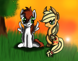 Coffee Cup and AppleJack in sunset by Muketti