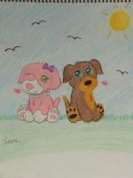 Webkinz Pink and White Dog + Mocha Pup by YellowLab8078
