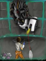 Keith and GLaDOS by xenomorphfury161