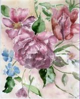 Watercolor flowers by Tirliporek