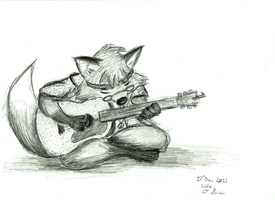 Psychedelic Fox and Guitar by Birone