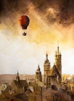 A flight over Cracow II by sanderus