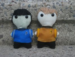 Plushies: Kirk and Spock by calceil