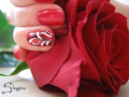 Deep red-2 nail-art by Shangova