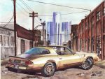 1980 Chevy Camaro In Detroit (Painting) by FastLaneIllustration