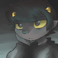 A.. sleepy Karkat at a computer. by squidForager