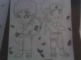 Chibis of Gaara and Naruto by AnkoLNK