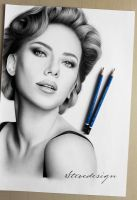 Scarlett Johansson Pencil Drawing by StevedesignStudio
