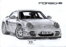18 hr Porsche Turbo drawing by toyonda