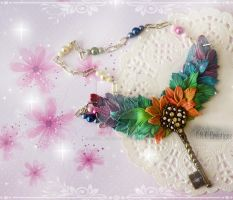 Winged rainbow Key Necklace by CNKCreations
