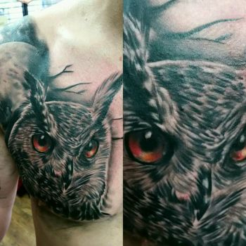 owl and moon chest tattoo by thirteen7s