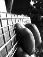 guitar and my finger by wildwoolfy