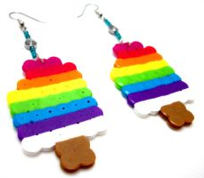 Rainbow Pop Earrings by GeekyGamerShop