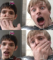 Merlin and Arthur - 21th cent. by blackberry-frommars