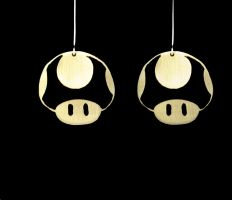 1UP Mario Mushroom Earrings by obsidiandevil