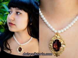 Burgundy Gem Necklace by DaisyViktoria