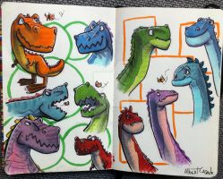 Dinos - warm-up sketches - Copic markers/brushpen by nfok-e