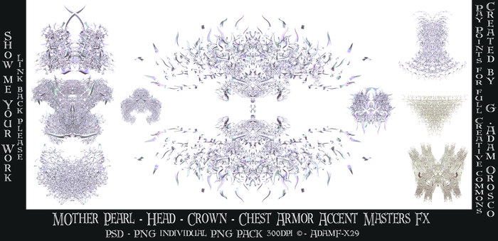 Mother Pearl Head Crown Chest Accent Armor Fx by ArtwithoutabrushFx