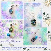 ABALONE NECKLACE AND TURQUOISE BELLY RINGS ON SALE by Aim4Beauty