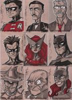 Batman Sketch Cards 01 by Hodges-Art