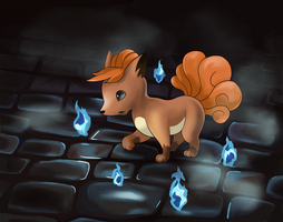 Vulpix Used Will-O-Wisp! by e-pona