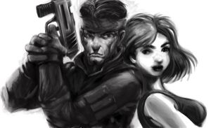 Solid Snake and Meryl MGS by jmont