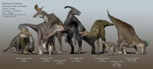 Hadrosaurs of the Dinosaur Park Formation by PaleoGuy
