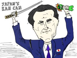 Japan's Prime Minister Kan Can caricature by optionsclickblogart
