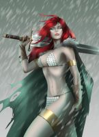 Red Sonja Snow Pin-up by evandromenezes
