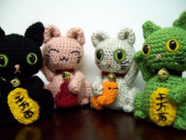 Maneki Neko Amigurumi Group by whithersoever