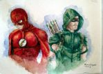 The Flash and Green Arrow - Watercolor Painting by davidsobo