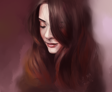 Brunette - Paint Sketch 2013-7-19 by iamniquey