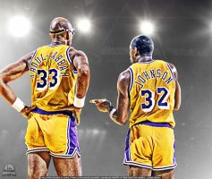 Abdul Jabbar and Magic Johnson by lisong24kobe