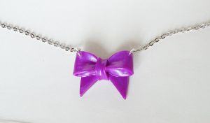 Purple ribbon - necklace by FrozenNote