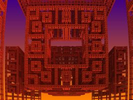 Red Shrine at Dawn by crotafang