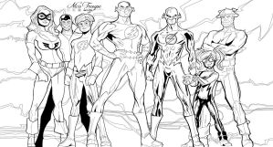 Flash Family - line art by TrouperDNico
