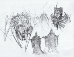 Ungoliant and Morgoth, sketch by BrokenMachine86