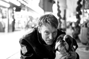 Panhandler With Dog by xraystyle