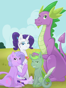 Rarity and Spike Family Portrait by Felicity-Star