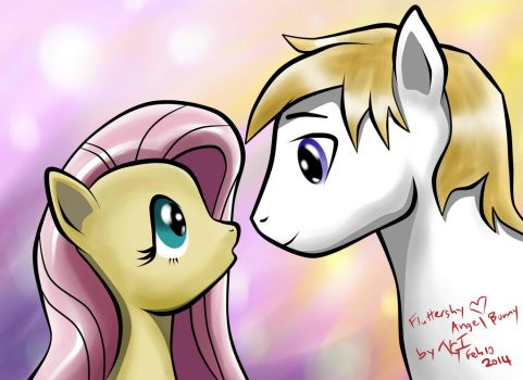Fluttershy and Angel Stallion-2014-01 by StreaksPsyche