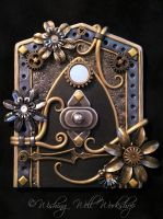 Polymer Clay Steampunk Pixie Portal by missfinearts