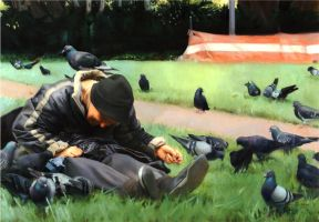 Homeless woman feeding birds by rodluff