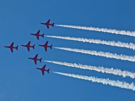Red Arrows Overhead Sywell 2012 by davepphotographer