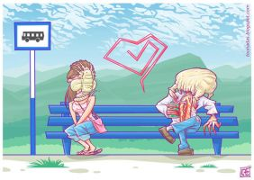 Valentine's Day at the Bus Stop by Ferlancer